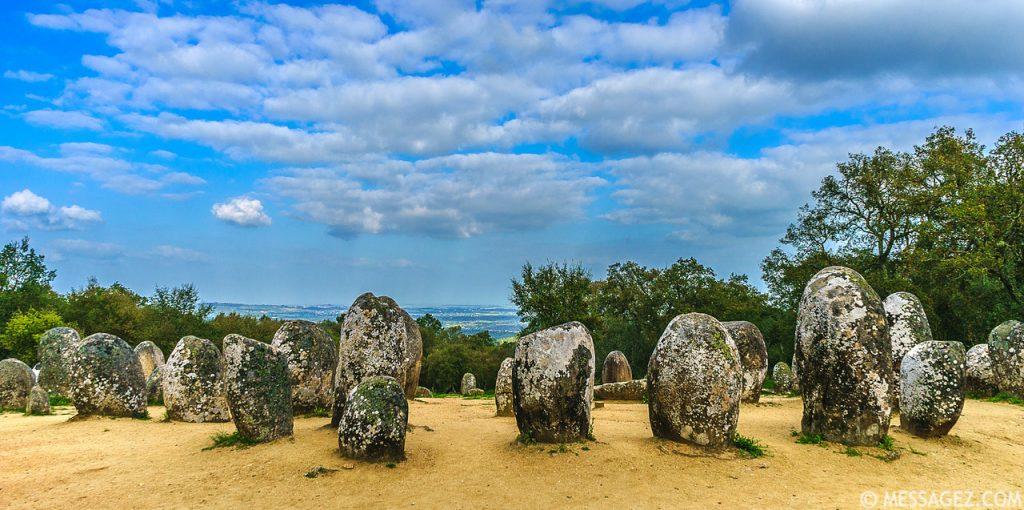 cromlech stones under cloudy sky