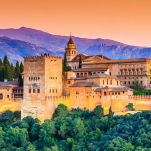 Alhambra palace and gardens seen from the Albaicín